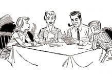 1960s retro advertising family meeting