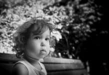 Toddler in Burma black and white portrait