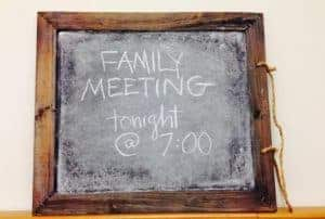 Family meeting sign