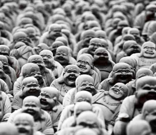 Buddha sculptures from Indonesia B&W