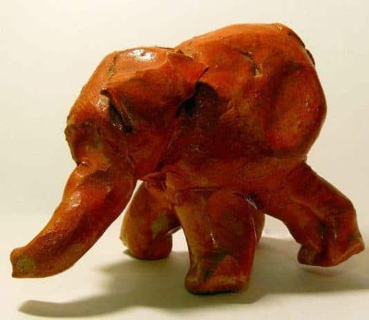 Clay sculpture of an elephant made by a preschooler