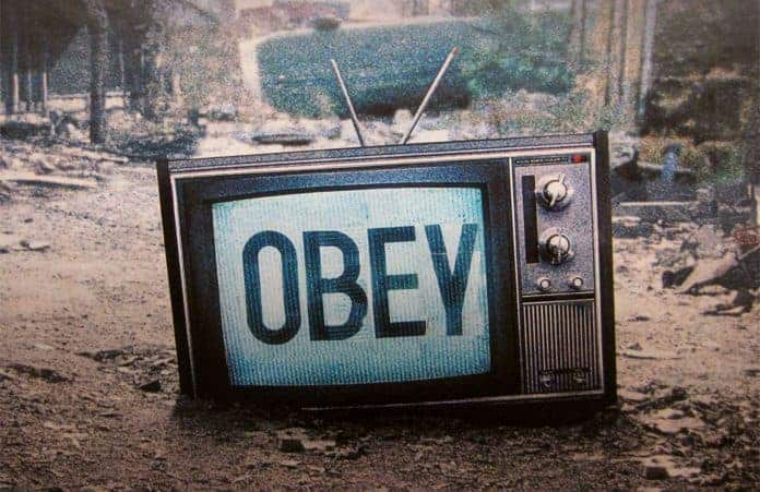 Tube Television with Obey on the Screen in Urban City Art