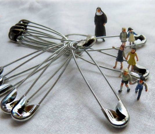 Miniature Scene of Children Jumping Safety Pins