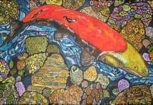 Mosaic Artwork of a Salmon