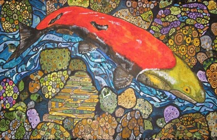 Mosaic Artwork of a Salmon