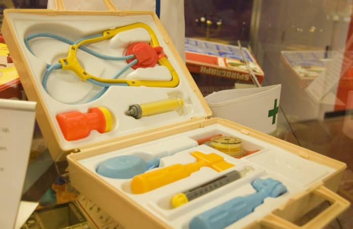 Vintage Fisher Price Doctor Kit Toy with Thermometer