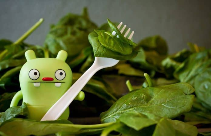 Toy green monster holding fork with fresh spinach
