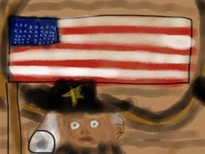 Child drawing of George Washington on the Fourth of July