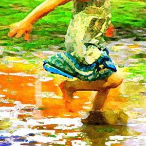 Girl running artwork