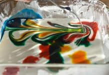 Oobleck Non-Newtonian Fluid with Colorful Swirls of Food Coloring