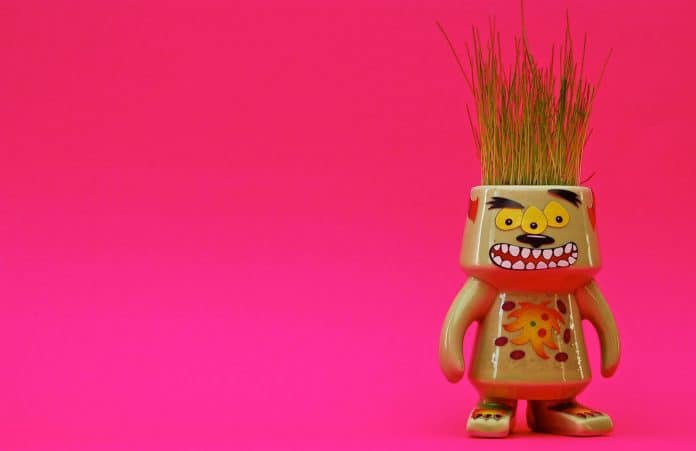Plant Monster on Pink Background