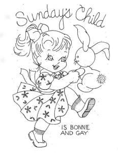 Sunday's child is bonnie and gay. Girl dancing with rabbit