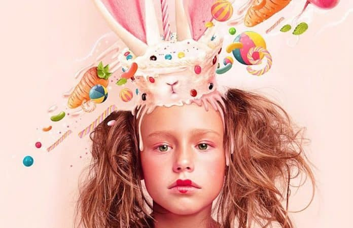Artwork of Girl with heart lipstick with Candy and Cake on Head