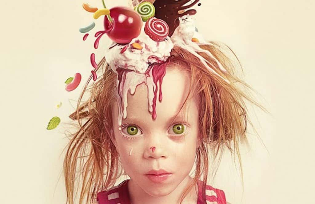 Artwork of girl with melted ice cream on head