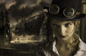 Steampunk spaceship and pilot wearing flying goggles