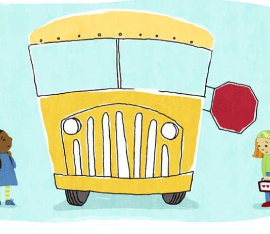 Yellow school bus with two worried girls