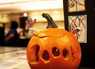 Jack O lantern in library carved Books