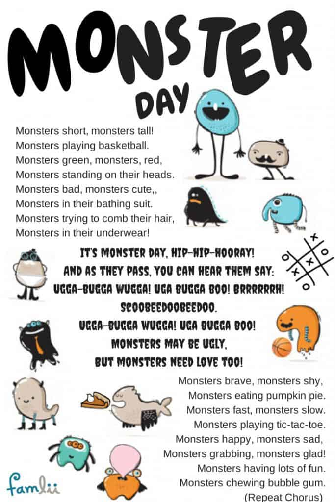Infographic Lyrics to Monster Day Song by Linda Arnold