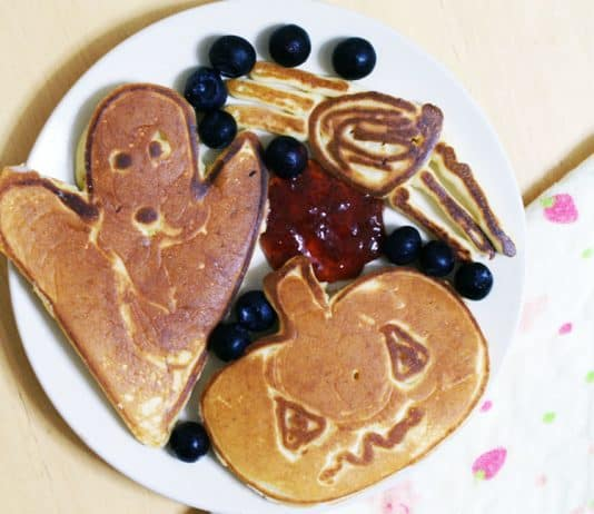 Plate of halloween shaped pumpkin pancakes