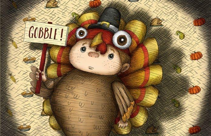 Drawing of boy dressed as turkey