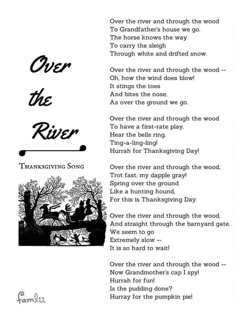 Over the River Song Lyrics and Poem Printable