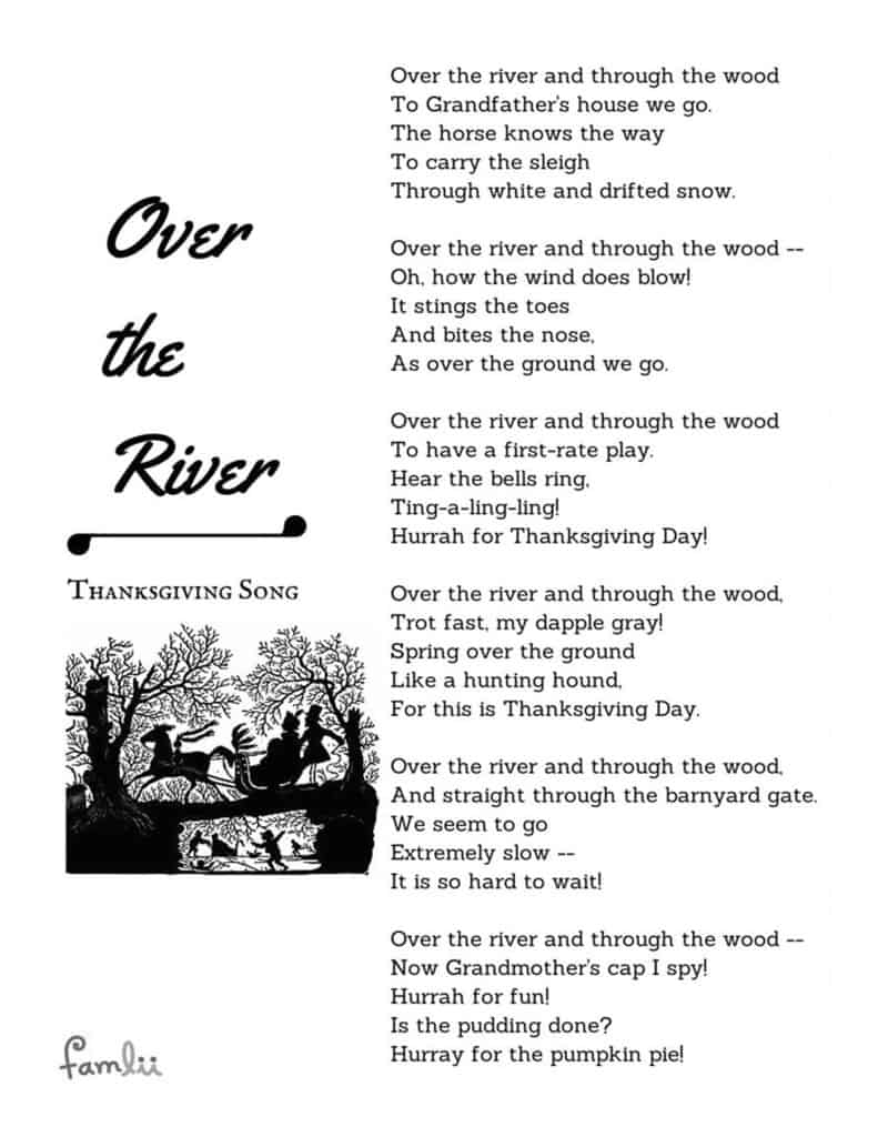 over the river u0027 the children u0027s thanksgiving song famlii