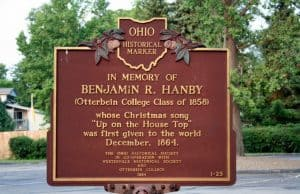 Historic marker for Up on the Housetop 150th anniversary