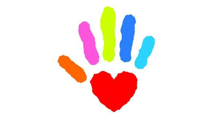 Kids artwork showing hand with heart