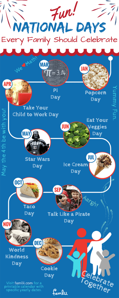 Calendar Infographic of Fun National Days for Kids
