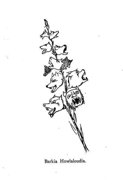 Dog barking plant drawing